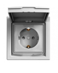 Розетка (2К+З) 16A с крышкой и шторками алюминий  EPH3100361
