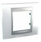 Рамка 1 пост белоснежный/алюминий MGU66.002.092