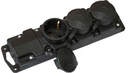 Розетка Р16-381, трехместная с защитными крышками каучуковая 230В, 2P+PE, 16A, IP44
