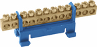 "Шина ""N"" нулевая с изолятором на DIN-рейку 6x9мм стойка мал. 12 групп"