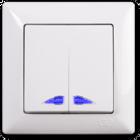 Visage Выключатель 2-клав. с подсветкой Белый